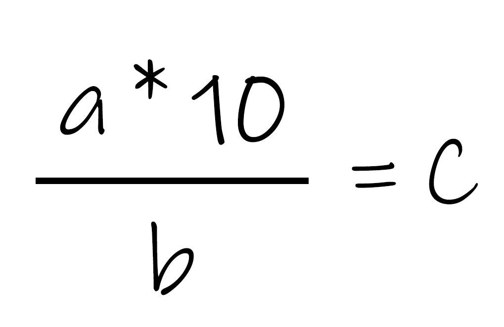 a mal 10 durch b gleich c